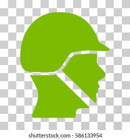 Soldier Helmet vector pictogram. Illustration style is flat iconic eco green symbol on a transparent background.