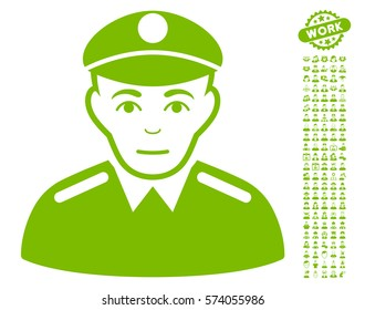 Soldier icon with bonus avatar graphic icons. Vector illustration style is flat iconic eco green symbols on white background.