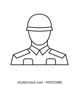 Soldier icon in outline style isolated on white background. Military symbol vector illustration