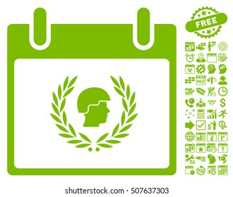 Soldier Laurel Wreath Calendar Day pictograph with bonus calendar and time management images. Vector illustration style is flat iconic symbols, eco green, white background.