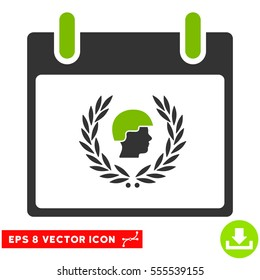 Soldier Laurel Wreath Calendar Day icon. Vector EPS illustration style is flat iconic bicolor symbol, eco green and gray colors.