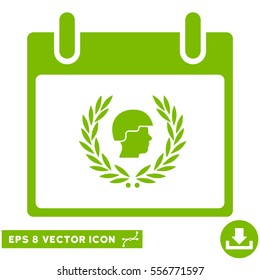Soldier Laurel Wreath Calendar Day icon. Vector EPS illustration style is flat iconic symbol, eco green color.