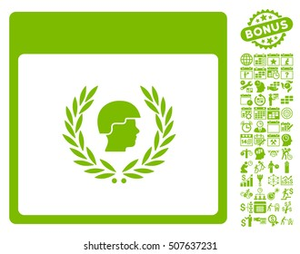 Soldier Laurel Wreath Calendar Page icon with bonus calendar and time management icon set. Vector illustration style is flat iconic symbols, eco green, white background.