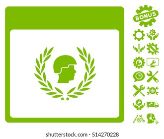 Soldier Laurel Wreath Calendar Page pictograph with bonus setup tools clip art. Vector illustration style is flat iconic symbols, eco green, white background.