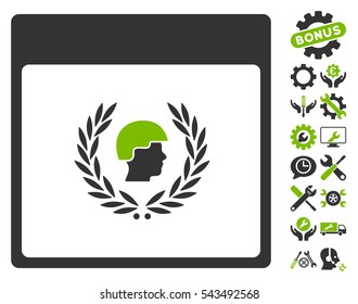 Soldier Laurel Wreath Calendar Page pictograph with bonus options pictures. Vector illustration style is flat iconic symbols, eco green and gray, white background.