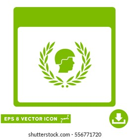 Soldier Laurel Wreath Calendar Page icon. Vector EPS illustration style is flat iconic symbol, eco green color.