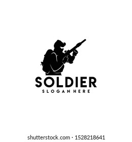 Soldier Logo Design Vector for Badge and Icon
