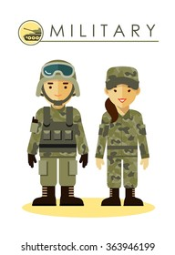 Soldier man and woman in military camouflage uniform isolated on white background in flat style