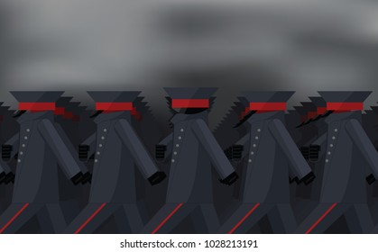 The soldier of the marching army looks at the viewer. Vector illustration