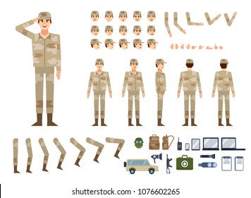 Soldier in military clothing creation kit. Create your own pose, action, animation. Various emotions, gestures, design elements. Flat design vector illustration