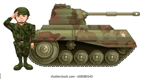 Soldier and military tank illustration