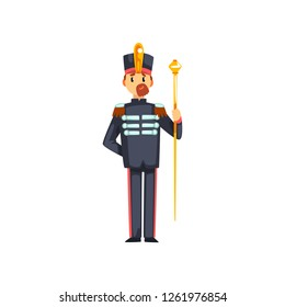 Soldier musical conductor with vestibule, member of army military band vector Illustration on a white background
