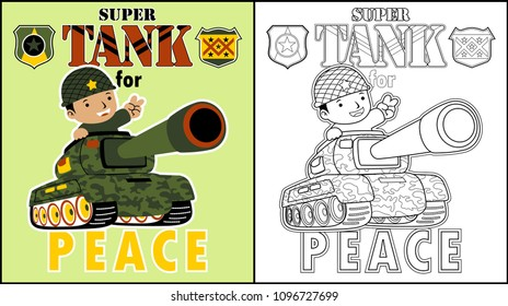 A soldier on armored vehicle, coloring page or book, vector cartoon illustration