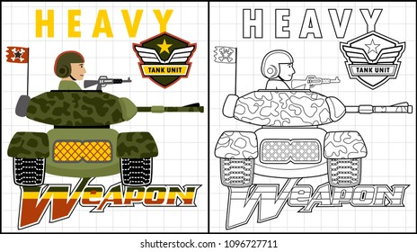 Soldier on armored vehicle, coloring page or book, vector cartoon illustration