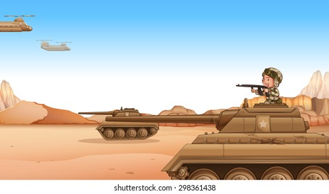Soldier on a tank fighting in the field, desert