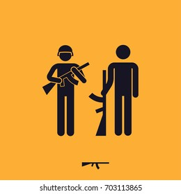 soldier people sign, man with gun, vector pictogram
