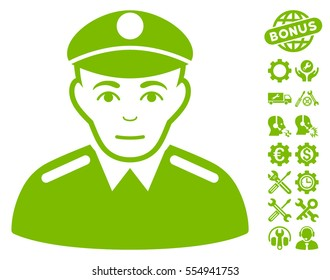 Soldier pictograph with bonus options graphic icons. Vector illustration style is flat iconic eco green symbols on white background.