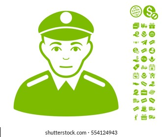 Soldier pictograph with free bonus design elements. Vector illustration style is flat iconic symbols, eco green color, white background.