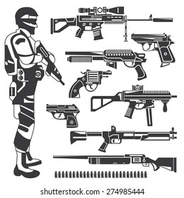 soldier, policeman, gun icons, weapons, vector set