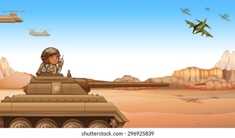 Soldier riding a tank at the battle field