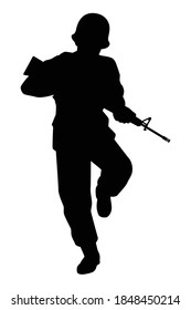 Soldier with rifle gun silhouette vector