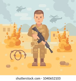 Soldier with a rifle on the battlefield flat illustration. War scene background