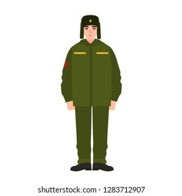 7bc7175b82d Soldier of Russian armed force wearing army winter uniform and fur hat. Military  man