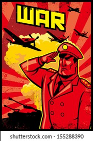 soldier salute poster with war plane background