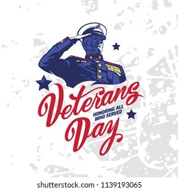 Soldier saluting  Veterans Day. Vectoe sign