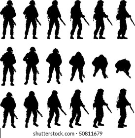 Soldier silhouette in different perspectives, vector