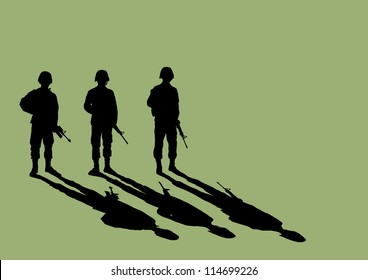 Soldier Silhouette with shadow