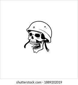 Soldier Skull Symbol Logo. Tattoo Design. Vector Illustration.