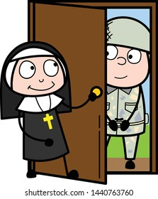 Soldier Standing on Door and Nun Welcoming Him - Cartoon Nun Lady Vector Illustration