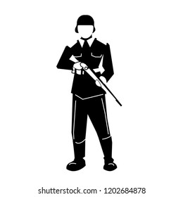 a soldier stands with a carbine in his hands. Black pattern, outline only