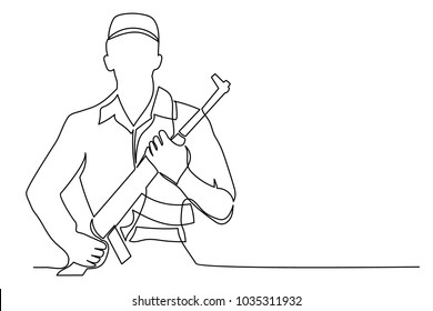 A soldier stands in uniform and a headdress, pressing his arms to his chest. One continuous drawing line drawn by hand on a white background.