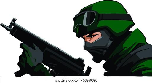 Soldier with submachinegun