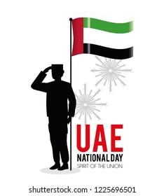 soldier with uae flag to celebrate national day