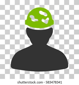 Soldier Under Spotted Helmet vector pictogram. Illustration style is flat iconic bicolor eco green and gray symbol on a transparent background.