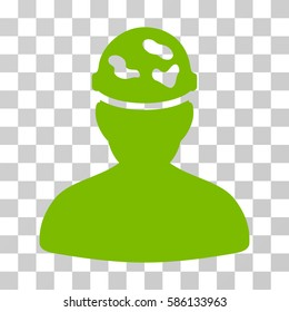 Soldier Under Spotted Helmet vector pictograph. Illustration style is flat iconic eco green symbol on a transparent background.