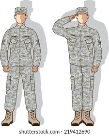 Soldier in uniform salute