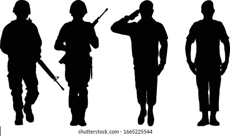Soldier vector black Style. Soldiers silhouette vector.