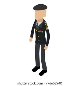 Soldier veteran icon. Isometric illustration of soldier veteran vector icon for web