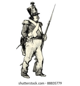 """The soldier - Vintage engraved illustration - """"Les Francais"""" by L.Curmer in 1842 France"""