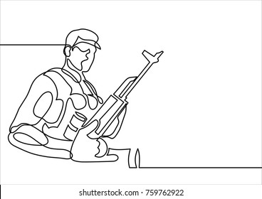 Soldier with weapons-continuous line drawing