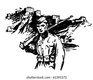 Soldier - World War II - Retro Clip Art
