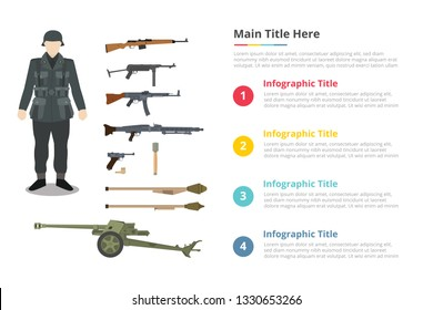 soldier ww2 army uniform and millitary weapon infographics template with 4 points of free space text description - vector