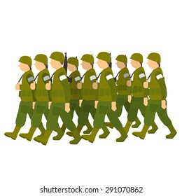 Soldiers in green uniform marching past in military parade. Vector illustration isolated on white background
