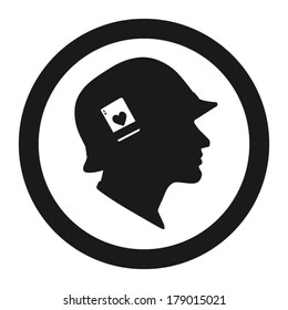 Soldiers head with helmet and playing card, side view. Logo template. Vector illustration.