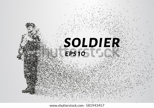 Soldiers of the particles. The warrior consists of circles and points. Vector illustration.
