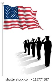 Soldiers saluting in front of an American flag.